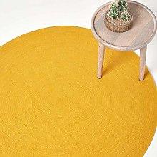 HOMESCAPES Mustard Yellow Handmade Braided Round