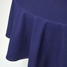 HOMESCAPES Navy Blue Cotton Round Tablecloth 6 to