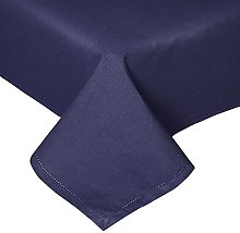 HOMESCAPES Navy Blue Cotton Tablecloth 6 to 8