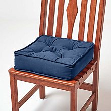 HOMESCAPES Navy Blue Dining Chair Booster Cushion