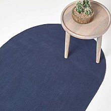 HOMESCAPES Navy Blue Handmade Braided Oval Rug For