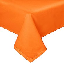 HOMESCAPES Orange Cotton Tablecloth 6 to 8 seater