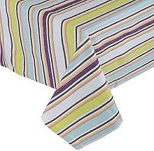 HOMESCAPES Osaka Green Stripe Cotton Tablecloth 4