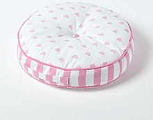 HOMESCAPES Pink and White Round Floor Cushion
