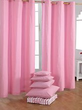 HOMESCAPES Pink Eyelet Curtain Pair 137cm