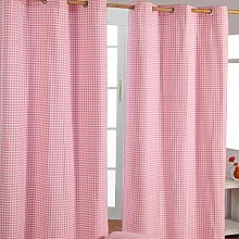 HOMESCAPES Pink Gingham Check Eyelet Curtain Pair
