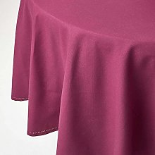 HOMESCAPES Plum Cotton Round Tablecloth 6 to 8