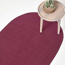 HOMESCAPES Plum Handmade Braided Oval Rug For