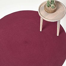 HOMESCAPES Plum Handmade Braided Round Rug For
