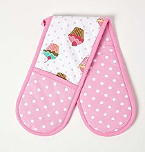 HOMESCAPES - Pure Cotton Double Oven Glove - Cup