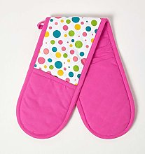 Homescapes - Pure Cotton Double Oven Glove - Polka