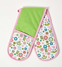 Homescapes - Pure Cotton Double Oven Glove - Retro