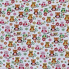 HOMESCAPES Pure Cotton Furnishing Fabric - Owls -