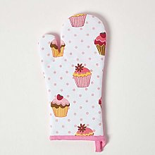 Homescapes - Pure Cotton Oven Glove - Cup Cakes -
