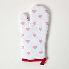 Homescapes - Pure Cotton Oven Glove - Hearts - Red