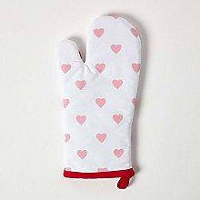 HOMESCAPES - Pure Cotton Oven Glove - Hearts - Red