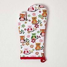 HOMESCAPES - Pure Cotton Oven Glove - Owls - Red