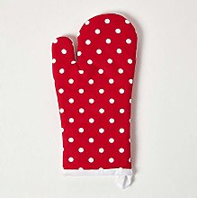 Homescapes - Pure Cotton Oven Glove - Polka Dot -