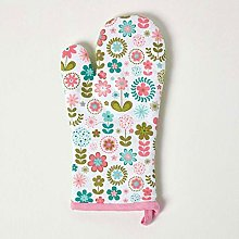 Homescapes - Pure Cotton Oven Glove - Retro Flower