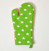 HOMESCAPES - Pure Cotton Oven Glove - Stars - Lime
