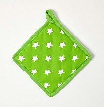 HOMESCAPES - Pure Cotton Pot Holder - Stars - Lime