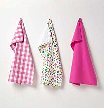 HOMESCAPES - Pure Cotton Tea Towels Set of Three -