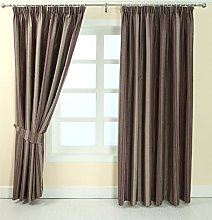 HOMESCAPES Purple and Beige Pencil Pleat Curtain
