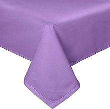 HOMESCAPES Purple Cotton Tablecloth 6 to 8 seater