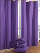 HOMESCAPES Purple Eyelet Curtain Pair 137cm
