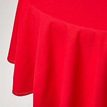 HOMESCAPES Red Cotton Round Tablecloth 6 to 8