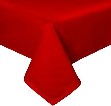 HOMESCAPES Red Cotton Tablecloth 4 Seater Square