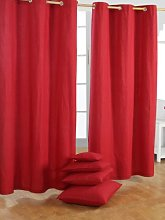 "HOMESCAPES Red Eyelet Curtain Pair 137cm (54"")"