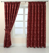 HOMESCAPES Red Pencil Pleat Curtain Pair