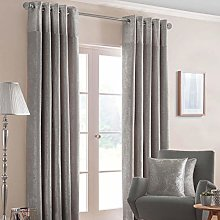 HOMESCAPES Silver Grey Curtains 229 x 137cm (90 x