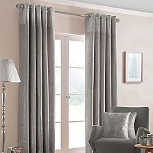 HOMESCAPES Silver Grey Curtains 229 x 183cm (90 x