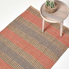 HOMESCAPES Small Modern Jute Rug Red and Blue