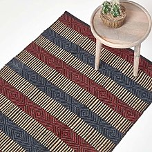 HOMESCAPES Small Modern Jute Rug Red, Blue and