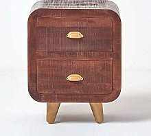 HOMESCAPES Solid Dark Wood Retro Bedside Table