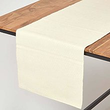 Homescapes - Table Runner - Cream - 100% Ribbed
