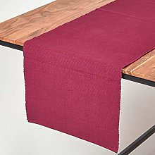 Homescapes - Table Runner - Plum - 100% Ribbed