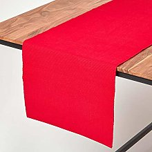Homescapes - Table Runner - Red - 100% Ribbed