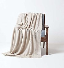 HOMESCAPES Taupe Sofa Throw with Fringe Detail and