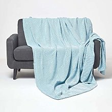 HOMESCAPES Teal Blue Throw 100% Cotton 255 x 360