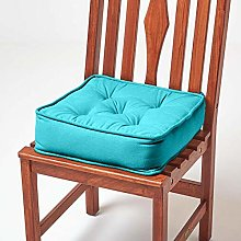HOMESCAPES Teal Dining Chair Booster Cushion Large
