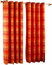 HOMESCAPES Terracotta Eyelet Curtain Pair 137cm