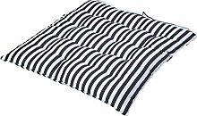 HOMESCAPES - Thin Black & White Stripe - Seat Pad