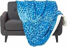 HOMESCAPES Velvet Throw Blue 130 x 160 cm Soft