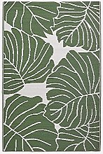 HOMESCAPES White & Green Outdoor Rug for Garden or