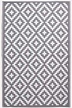 HOMESCAPES White & Grey Outdoor Rug for Garden or