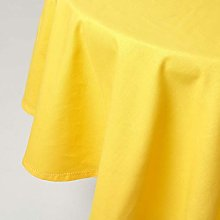 HOMESCAPES Yellow Cotton Round Tablecloth 6 to 8